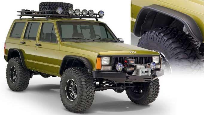 Jeep Cherokee Xj Flat Style Fender Flares Cut Out Set Of Four Bushwacker 1092207