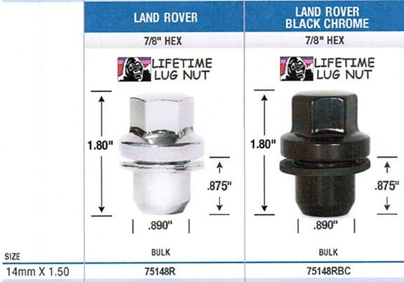 Gorilla 75148rbc Single Land Rover Black Lug Nuts Mag