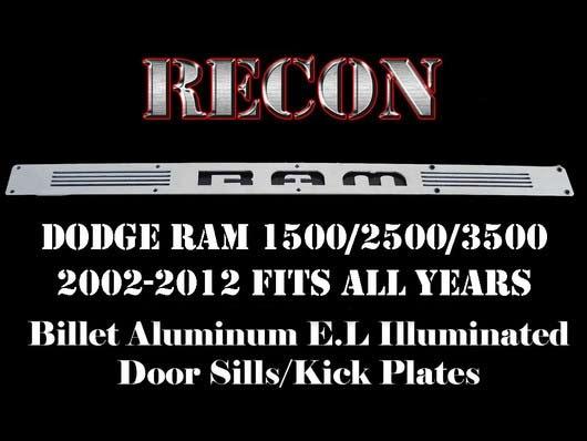 Recon 264121DG: Billet Illuminated Blue Door Sills Dodge Truck