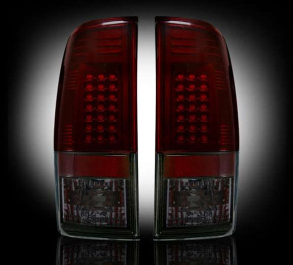 97 03 Ford F150 F250 Heavy Duty Size Extendable: Recon 264172RBK: Ford Smoked Red LED Tail Lights Superduty