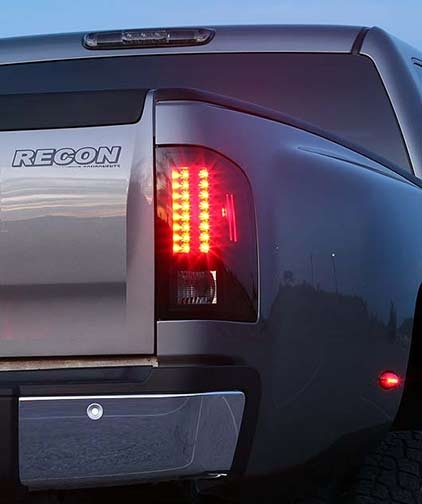 gmc sierra 07 12 led tail lights with smoked lens recon. Black Bedroom Furniture Sets. Home Design Ideas