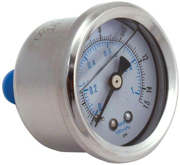 Spectre 2515: Fuel Pressure Gauge 0-15 Psi Oil Filled